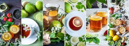Temat herbata, tło z przestrzenią dla teksta, zmrok Czerń i gr fotografia royalty free