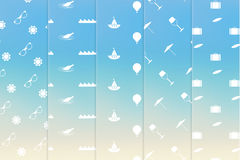 Tematisk sömlös texturpacke för vektor Enkel passande sommarferie Vektor Illustrationer