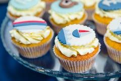 Tematiska muffin för hav Royaltyfri Foto