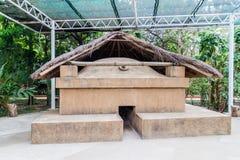 Temazcal traditionellt ångabad av Mesoamerican kulturer Joya de Ceren, El Salvado royaltyfria bilder