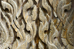 Temble. Texture of wood carving, Thailand Royalty Free Stock Images