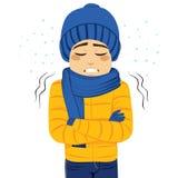 Temblor de congelación del hombre ilustración del vector