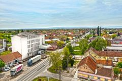 Temerin city in  Serbia Europa, 26.4.2017. Temerin city  with high street. Vojvodina, region on Serbia. Europe. Horizontal shoot. Editorial use only Stock Images