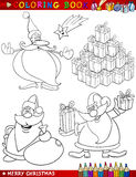 Temi di natale del fumetto per coloritura Fotografia Stock