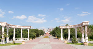 Temirtau, Kazakhstan - August 13, 2016: The columns in the city. Center Royalty Free Stock Images
