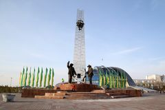 Temirtau. Monument to metallurgists in the city of Temirtau Stock Photos
