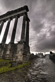 Temle of Saturn and the road on Forum Romanum Royalty Free Stock Photography