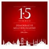 15 July, Happy Holidays Democracy Republic of Turkey celebration card. 15 temmuz demokrasi ve milli birlik gunu vector illustration. 15 July, Happy Holidays Royalty Free Stock Images