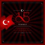 15 July, Happy Holidays Democracy Republic of Turkey celebration card. 15 temmuz demokrasi ve milli birlik gunu vector illustration. 15 July, Happy Holidays Stock Images