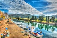 Temo rzeka pod chmurnym niebem w hdr Fotografia Royalty Free