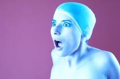 Temor en tinte azul púrpura Fotografía de archivo