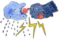 Tempête avec la foudre Image stock