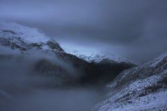 Tempête d'hiver dans les gammes Photos stock