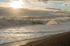 Tempête 2017 d'hiver de Hastings Photographie stock