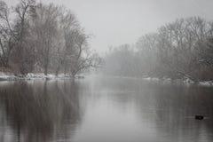 Tempête d'hiver de rivière d'Olentangy Photos stock