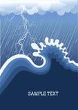 Tempête dans l'océan avec la grande onde Photographie stock