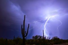 Tempête de foudre dans le désert de l'Arizona image libre de droits