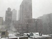 Tempête de neige à New York City Photos stock