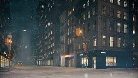 Tempête de neige à New York City Boucle capable rendu 3d illustration libre de droits