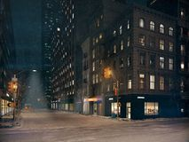 Tempête de neige à New York City rendu 3d Image libre de droits