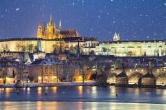Tempête de neige à Prague photographie stock