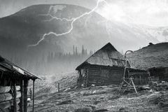 Tempête de neige Chernogora de ressort Photo libre de droits