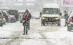 Tempête de neige dans la ville Photo stock