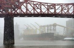 Tempête de neige de pont de Broadway Photo libre de droits