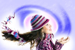 Tempête de neige froide Photographie stock