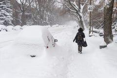 Tempête de neige de Montréal en janvier 2018 Photo stock