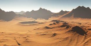Tempête de poussière sur Mars Paysage martien avec des cratères illustration stock