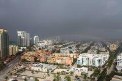 Tempête du sud de plage de vue aérienne Image stock