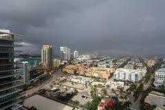 Tempête du sud de plage de vue aérienne Photos stock
