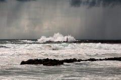 Tempête et pluie de mer Photo libre de droits