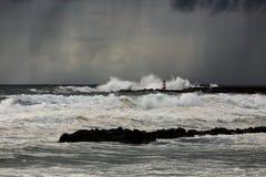 Tempête et pluie de mer Photos libres de droits