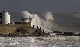 Tempête Ophélie battant Porthcawl Photos libres de droits