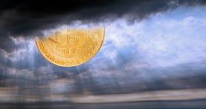 Tempête orageuse de ciel de nuages de rayons de rayon de soleil de sunsrise de cryptocurrency de Bitcoin illustration de vecteur