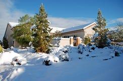 Tempête rare de neige d'hiver dans l'environnement de désert près de Las Vegas, Nevada Image stock