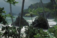 Tempête sur la côte tropicale, Trinidad Photo stock