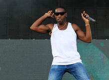 Tempah 011. English rapper, singer, songwriter, record producer and fashion label owner Tinie Tempah performs live during the Ibiza123 festival in the Balearic Royalty Free Stock Photo