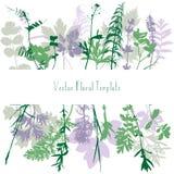 Tempalte με τα φύλλα και τις σκιαγραφίες φυτών Στοκ φωτογραφίες με δικαίωμα ελεύθερης χρήσης
