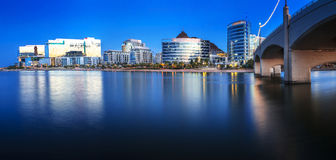 Tempe Arizona At Blue Hour. Tempe Arizona photographed from the Salt River during blue hour Stock Images