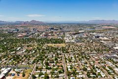 Tempe, Arizona Skyline including the campus of Arizona State. Aerial perspective of the skyline of Tempe including the campus of Arizona State royalty free stock photos