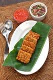 Tempe goreng, fried tempeh, indonesian vegetarian food Royalty Free Stock Photos