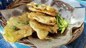 Tempe mendoan fried is a food traditional from Indonesia stock image