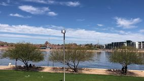Tempe Town Lake, dry riverbed of the salt river. Timelapse sweeping 90 degrees. A desert oasis in the middle of the Phoenix Metropolitan area stock footage