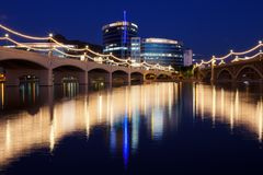 Tempe Town Lake em Tempe, o Arizona Foto de Stock