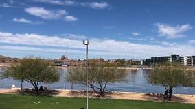 Tempe Town Lake, letto asciutto del fiume Salt stock footage