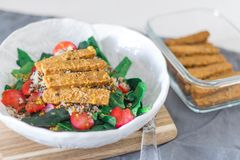 TEMPEH-BACON SALAD stock photography