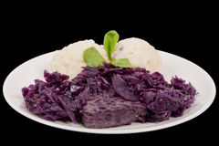 Tempeh with red cabbage and sorghum on a black. Background stock image